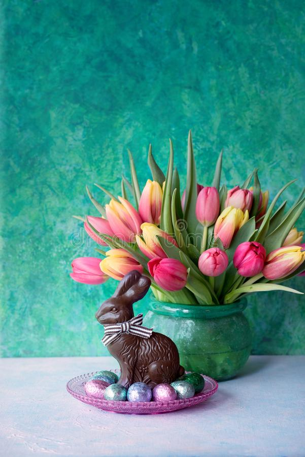 Download Easter rabbit and flowers stock image. Image of april - 112677539