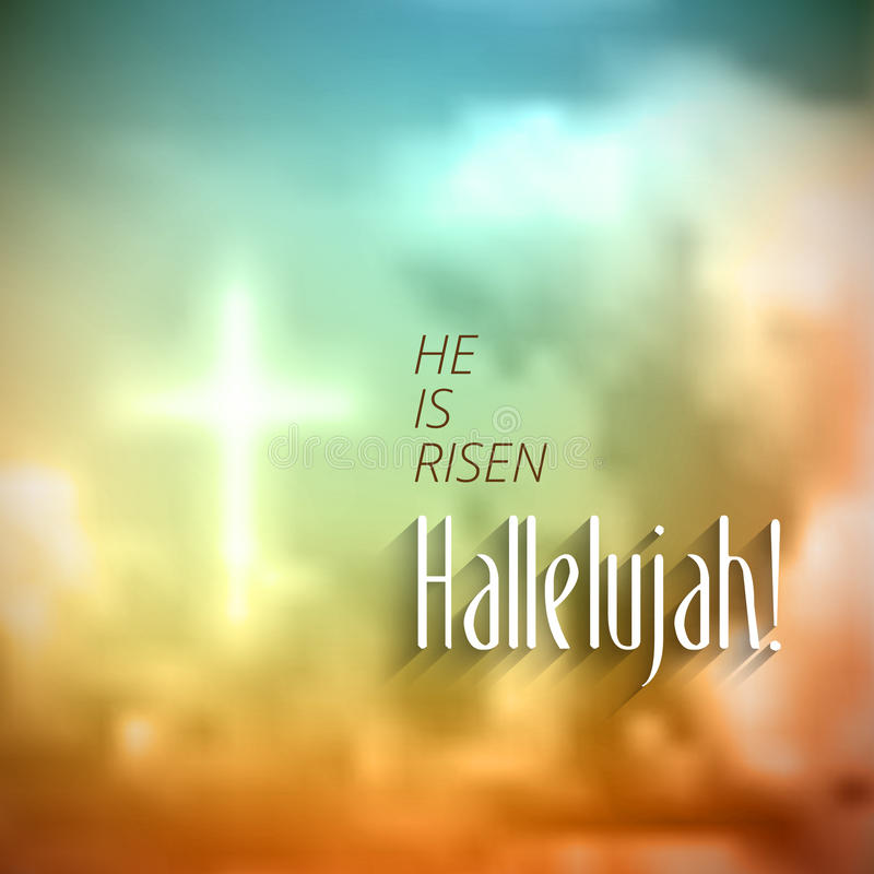 Easter christian motive, resurrection. Easter christian motive,with text He is risen Hallelujah, vector illustration, eps 10 with transparency and gradient mesh vector illustration