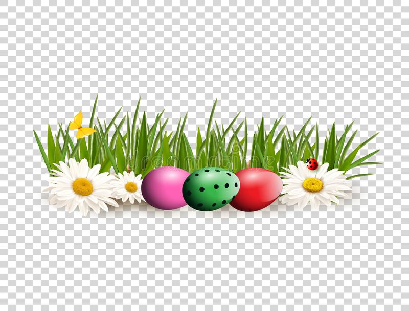 Easter clip art for greeting card with dyed eggs lying on gras. Happy Easter clip art for greeting card with colored bright dyed eggs lying on green grass among vector illustration