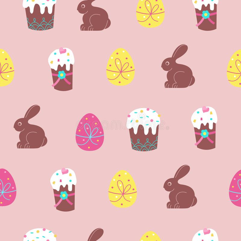 Seamless pattern for Easter. Cute Easter cakes, colored eggs and chocolate bunnies. Vector illustration royalty free illustration