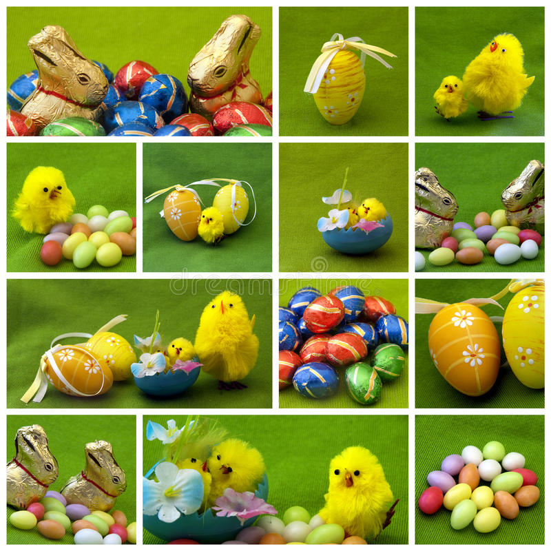 Easter collage. Painted Easter eggs themed collage