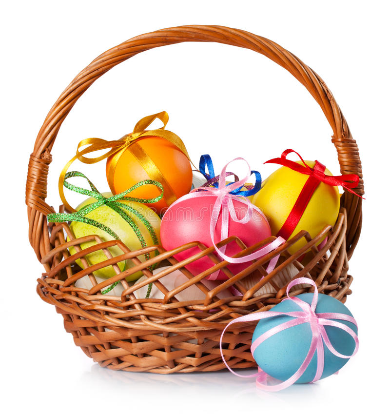 Easter colored eggs in the basket. On white background royalty free stock image