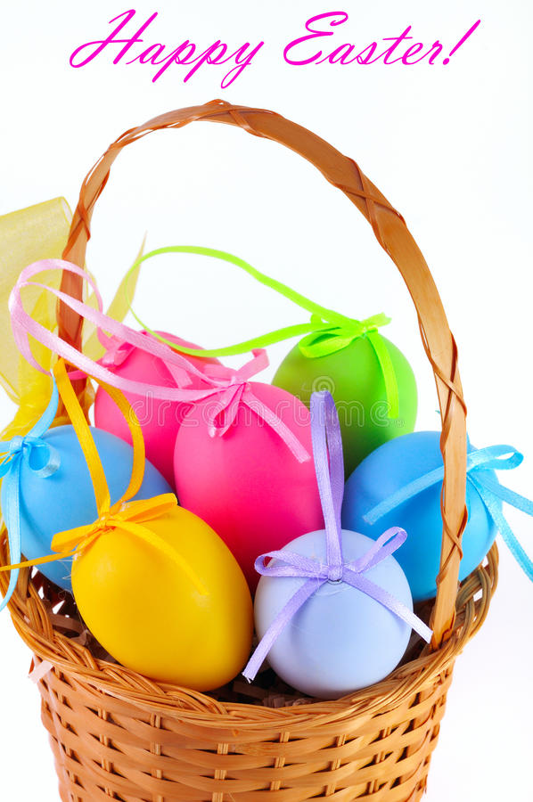 Free Easter Colored Eggs In The Basket. Happy Easter! Stock Image - 23494231