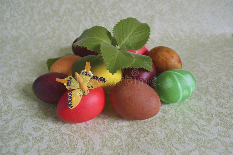 Easter Colored Eggs And Mint Stock Photo - Image of white, mint ...