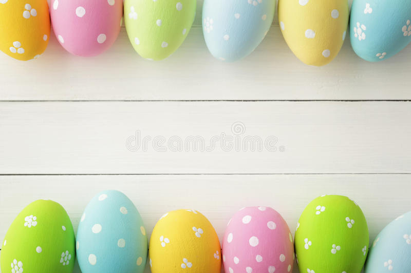Easter. Colorful decorated easter eggs on wooden background stock photography