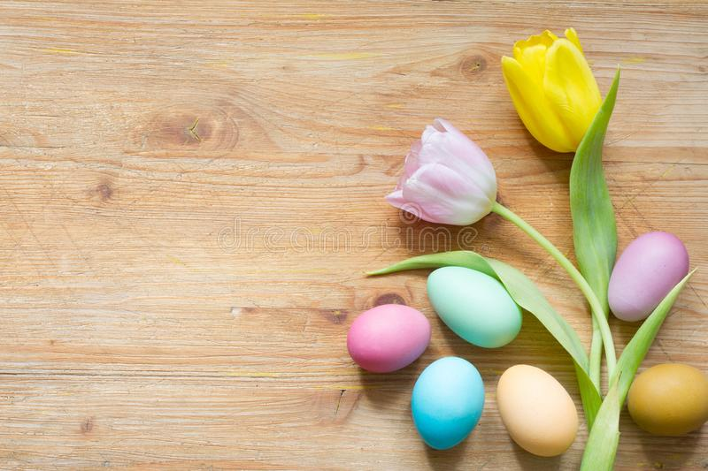Easter colorful simple eggs and spring tulips on wooden background. Closeup royalty free stock photos