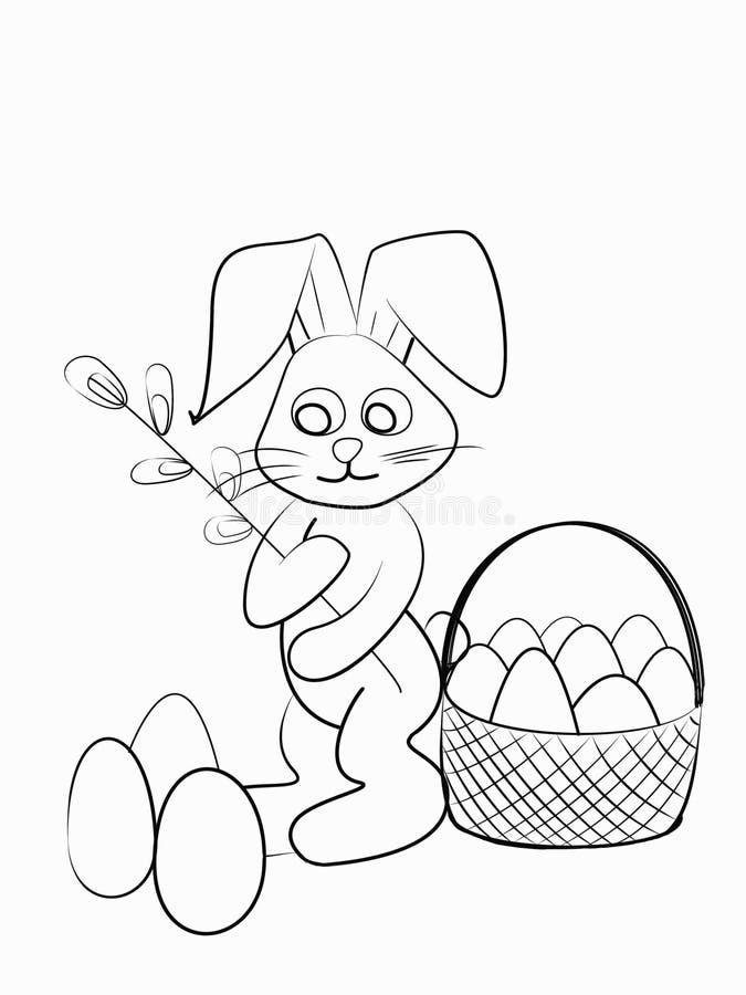 Easter Coloring. Black And White Raster Illustration For ...