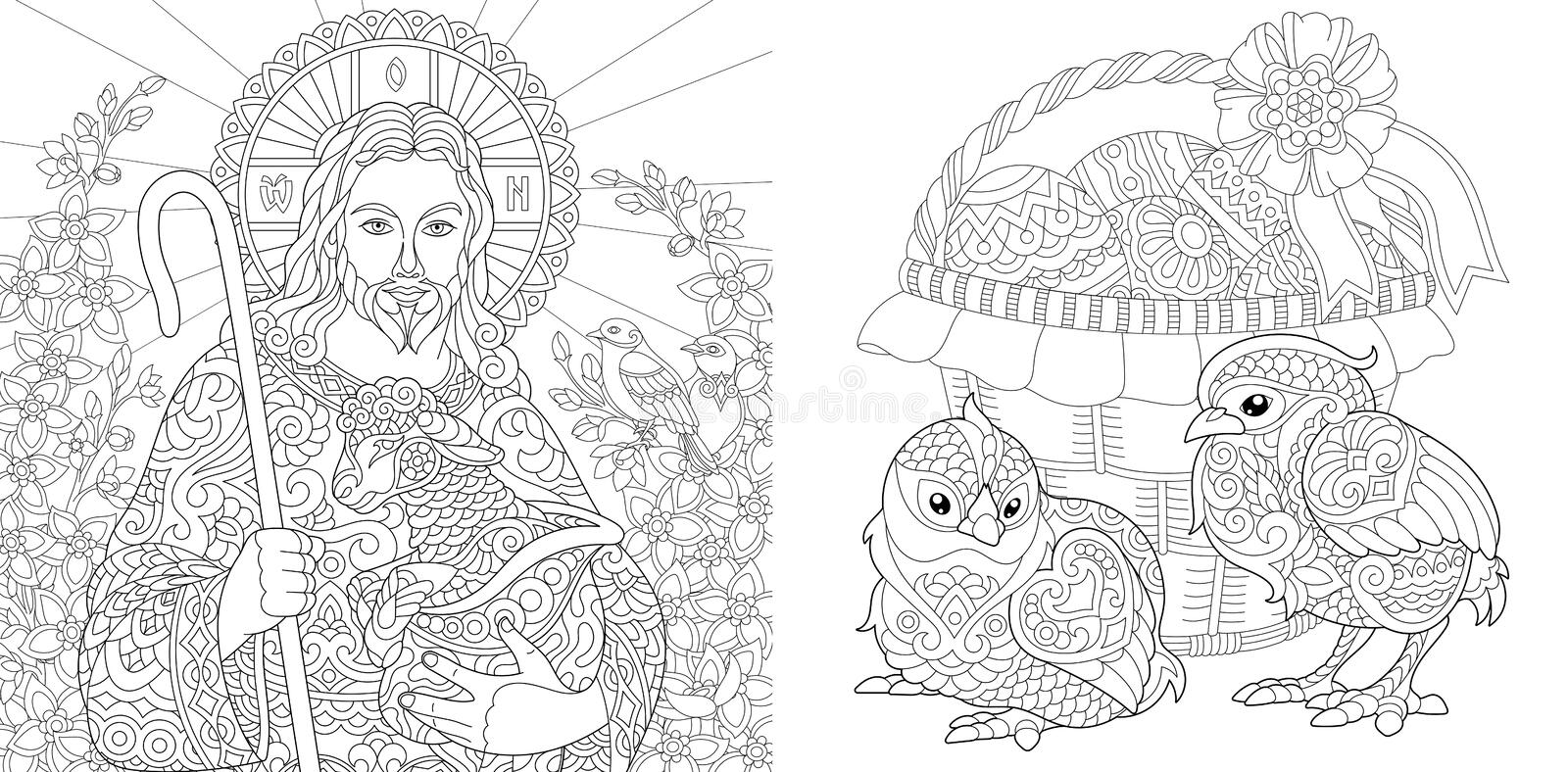 Easter. Coloring Pages. Coloring Book for adults. Colouring pictures with Jesus and chickens drawn in zentangle style. Vector royalty free illustration