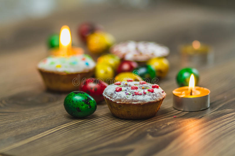 Easter Composition with chicken Eggs on the Warm Wooden Background. stock image