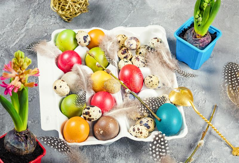 Easter composition with colored eggs and decorations stock photography