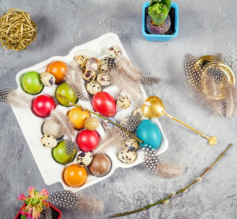 Easter composition with colored eggs and decorations stock image