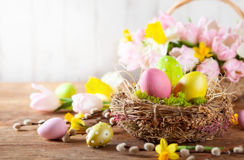 Easter composition with Easter eggs in nest, spring flowers and branches of willows stock image