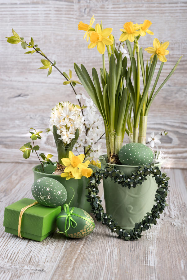 easter composition with eggs and daffodils stock photo. Black Bedroom Furniture Sets. Home Design Ideas