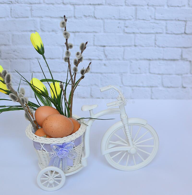 Easter composition: eggs, pussy-willow branches, yellow flowers, a toy bike carrying a white bike on a white background, place for stock image