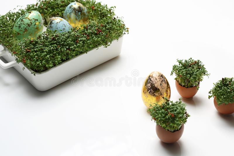 Easter composition with eggs and shells. Ecological style. stock images