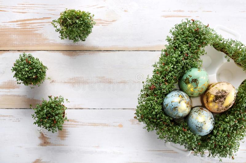 Easter composition with eggs and shells. Ecological style. stock photos
