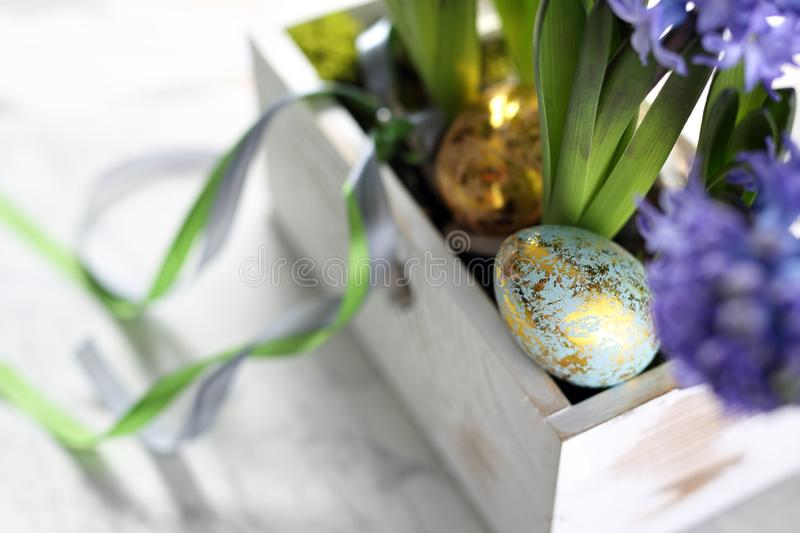 Easter composition with eggs and shells, top view. Ecological style. royalty free stock photography