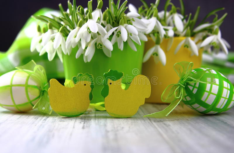Easter composition with painted eggs royalty free stock photo