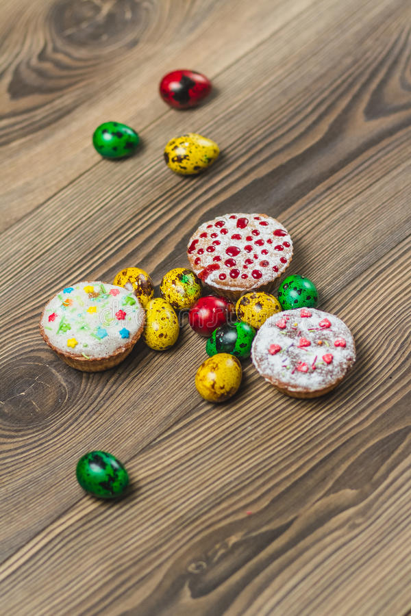 Easter composition on wooden background. Egg stock photo