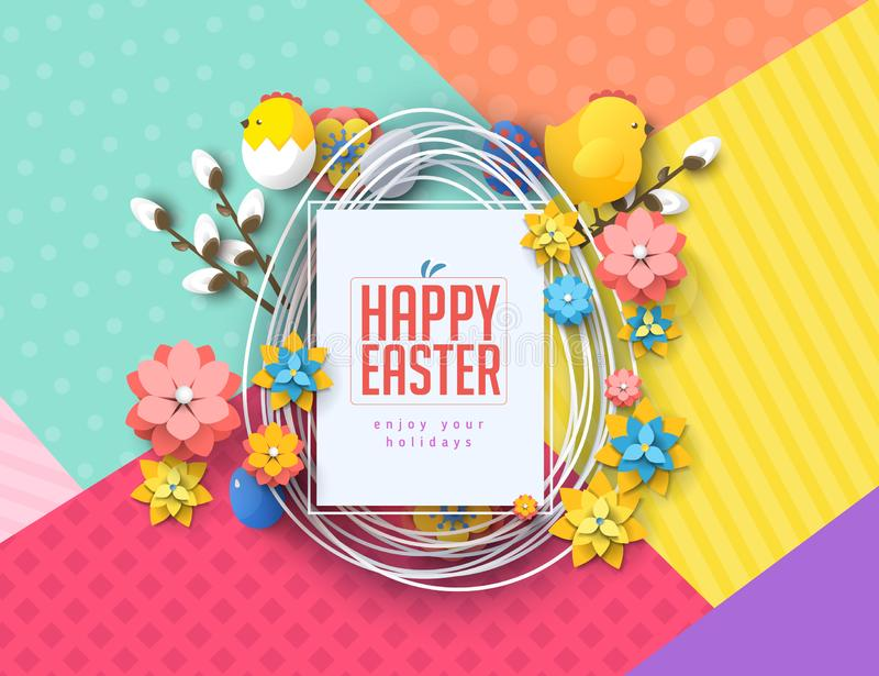 Easter concept banner flyer  colorful eggs rabbit abstract background texture royalty free illustration