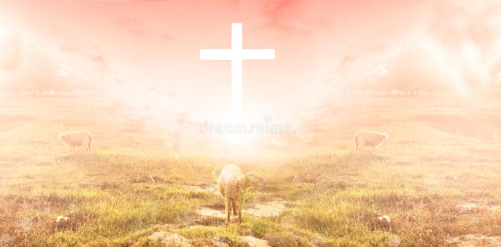 Easter concept:Silhouette cross on Calvary mountain sunset background. Religious cross against the background of the rays of the setting sun, symbolizing `faith royalty free stock photos