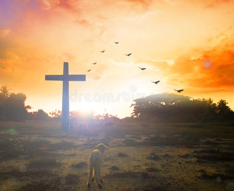 Easter concept:Silhouette cross on Calvary mountain sunset background. Religious cross against the background of the rays of the setting sun, symbolizing `faith stock photo