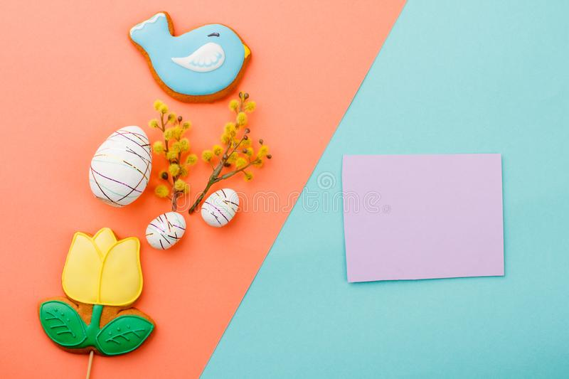 Easter cookie cutters on colorful background. stock image