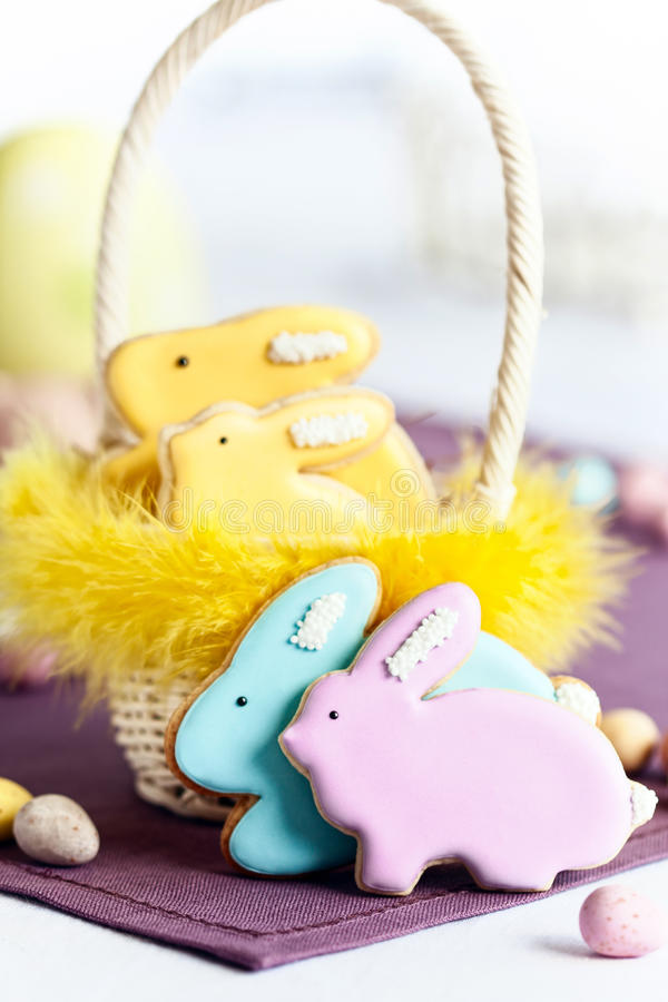 Easter cookies. Easter bunny cookies in a basket stock photo