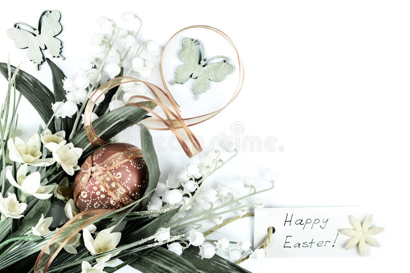 Easter corned composition. Easter corner composition on neutral background, text space royalty free stock images