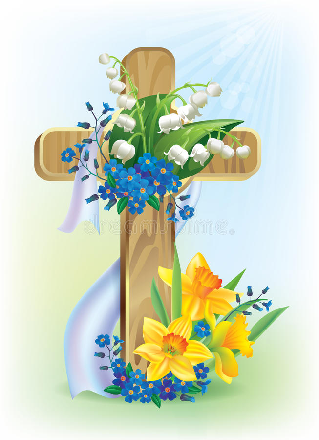 Download Easter cross stock vector. Illustration of grass, petal - 28645682