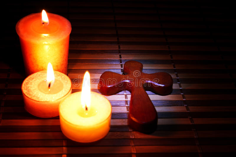 Download Easter, Cross and candles stock image. Image of flame - 18392541