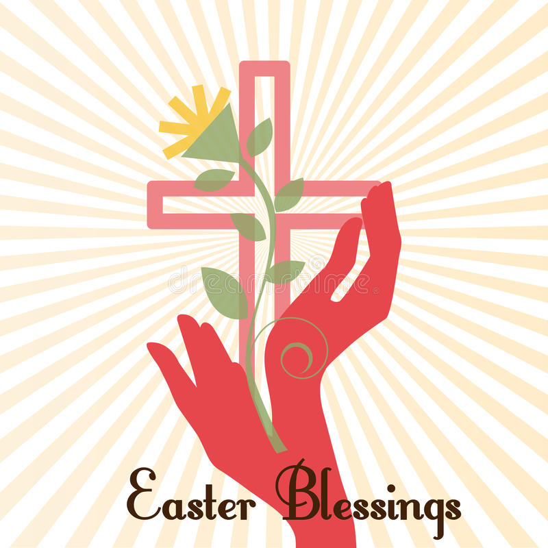 Easter Cross with Hands royalty free illustration