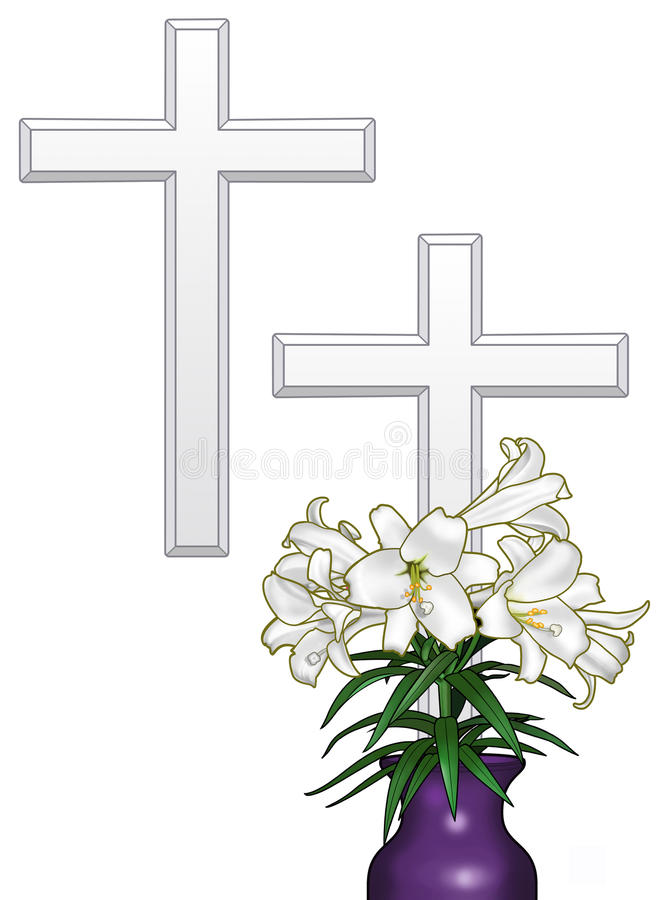Download Easter Cross and Lilies stock illustration. Illustration of holiday - 24108614