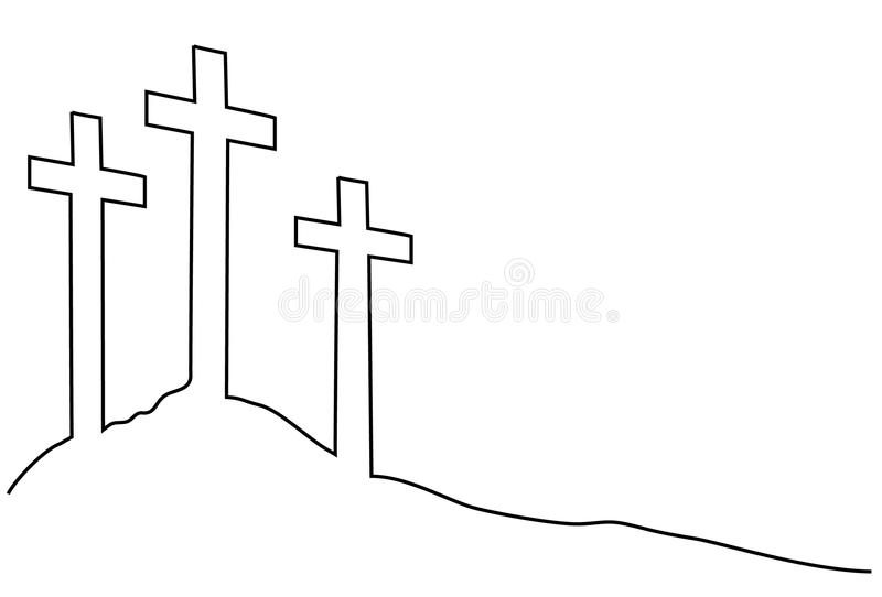 Easter cross one line drawing stock illustration
