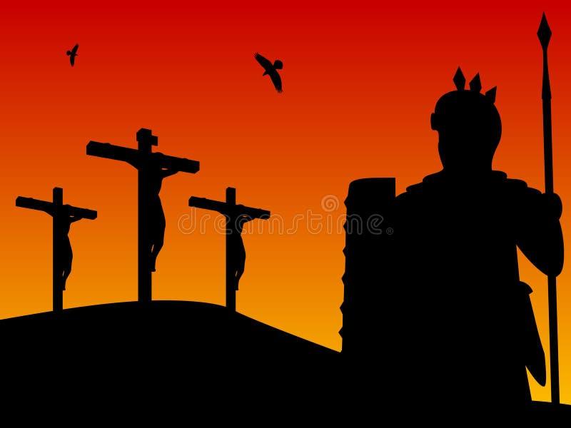 Easter - crucificação de Christ ilustração royalty free
