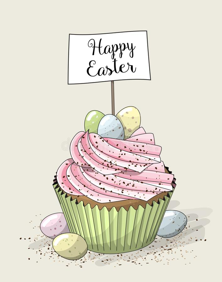 Easter cupcake with small eggs, illustration vector illustration