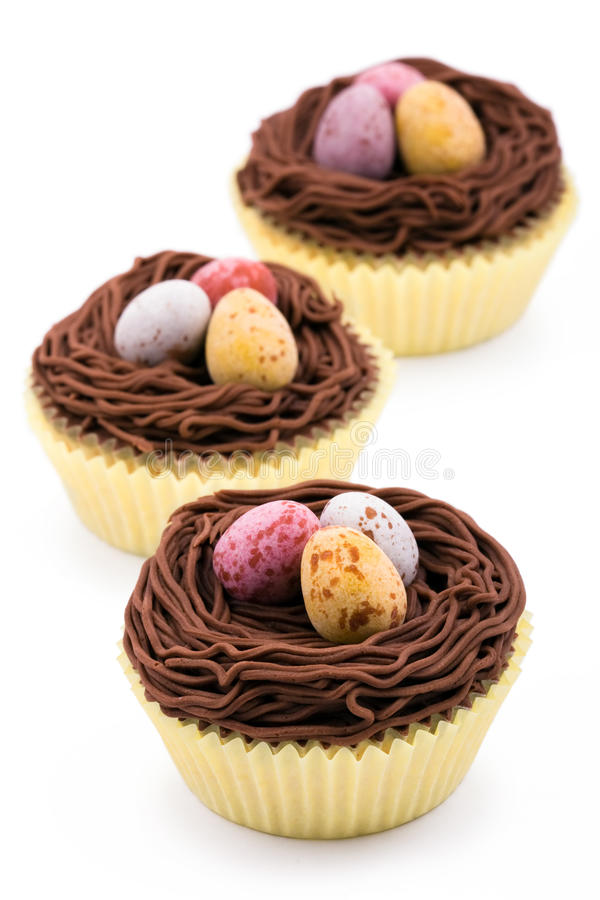 Easter cupcakes. Cupcakes decorated with an Easter theme stock photo