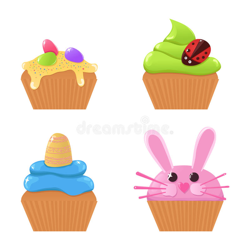 Easter cupcakes royalty free illustration