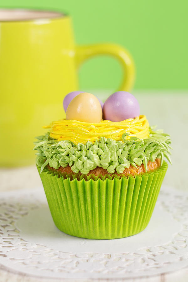 Easter cupcakes decorated with eggs in nest royalty free stock photo