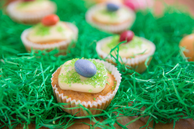Easter Cupcakes. With easter eggs royalty free stock photo