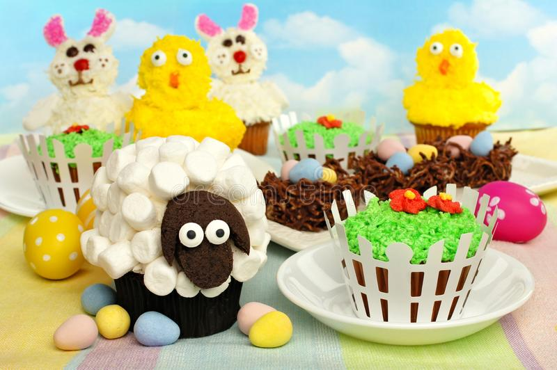 Easter cupcakes and treats stock photography