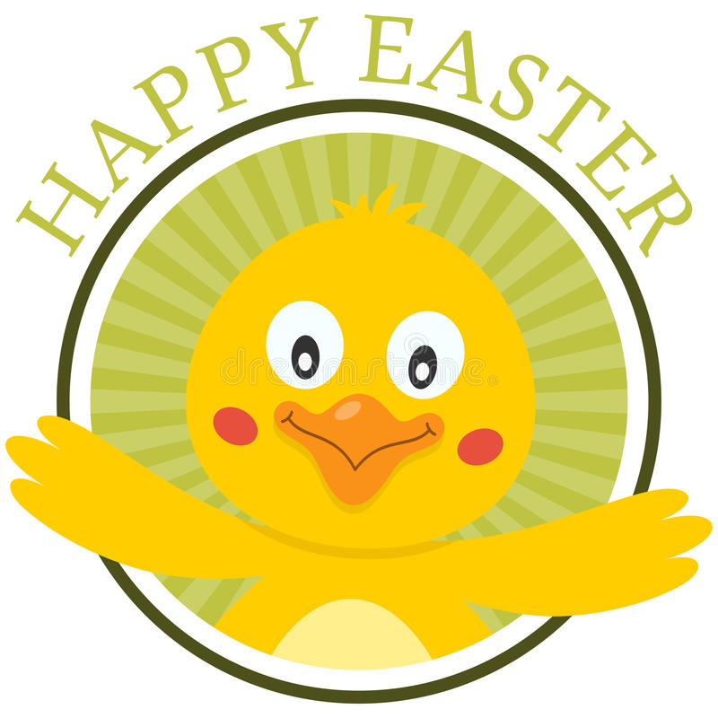 Easter Cute Chick Greeting Card Stock Vector
