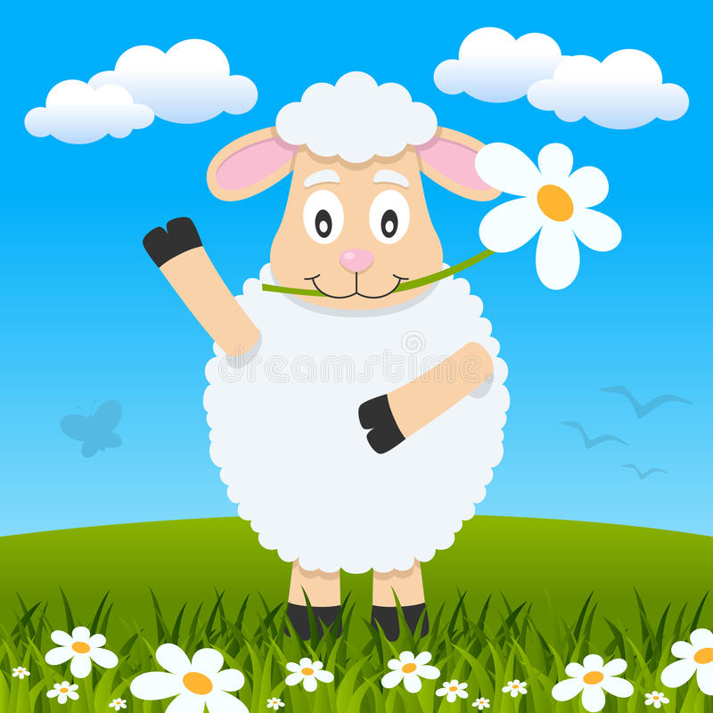 Easter Cute Lamb in a Meadow. A cute Easter lamb with a flower in the mouth in a meadow with green grass and flowers. Eps file available stock illustration