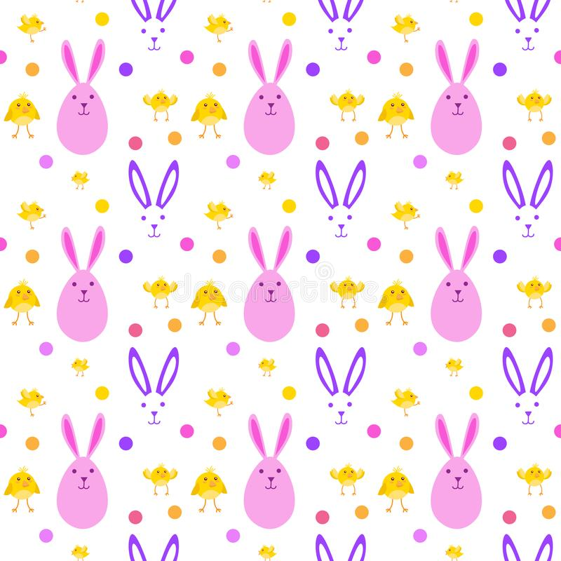 Easter Cute Seamless Pattern With Yellow Chicken And Bunnies On White Background vector illustration