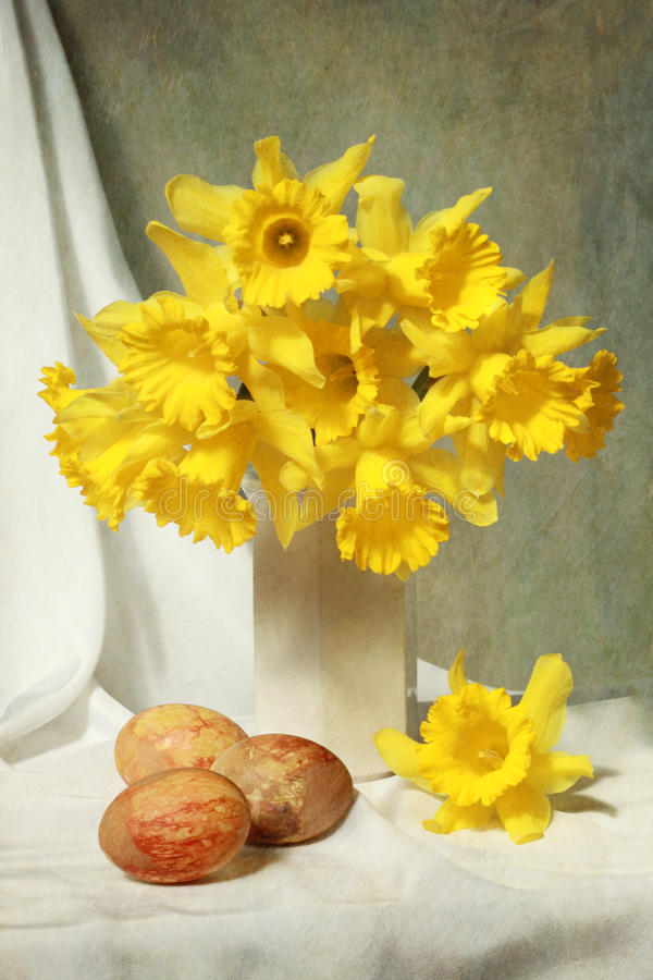Easter daffodils. Easter composition with yellow daffodils stock images