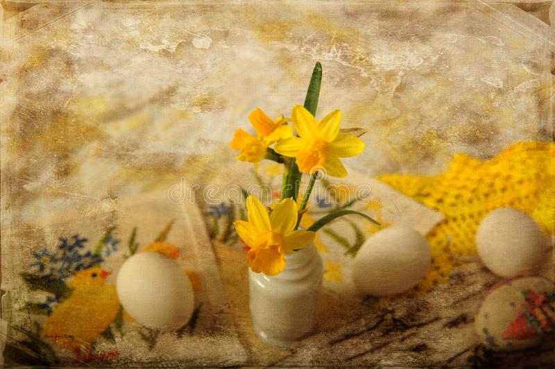 Easter Daffodils in Tiny Vase royalty free stock photography
