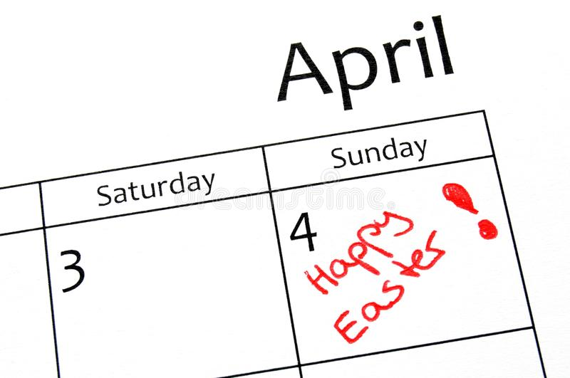 Easter day. Calender page with detail of the easter day royalty free stock photography