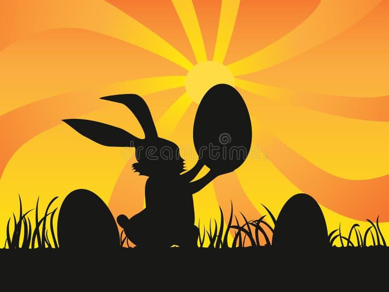 Easter day background of rabbit holding egg vector illustration
