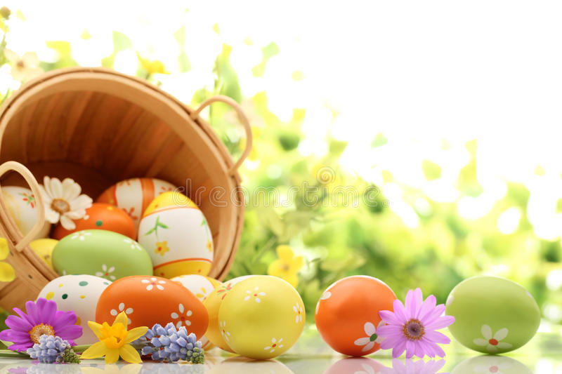 Easter Decoration. With eggs and flower stock photography