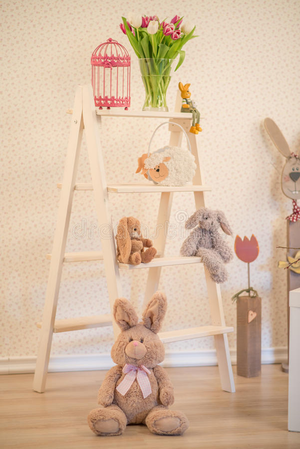 Easter decoration - bright room with lots of Easter decoration ladder stock images